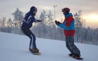 Как встать на сноуборд из положения сидя. Торможение на сноуборде. Боковое скольжение на переднем канте